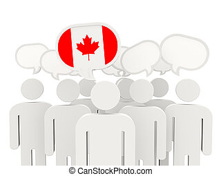 People with flag of canada