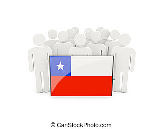 People with flag of chile