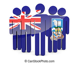 People with flag of falkland islands isolated on white