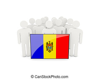 People with flag of moldova