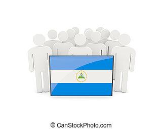 People with flag of nicaragua