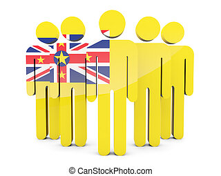 People with flag of niue