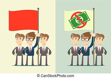 People with flag. set. Stock flat vector illustration
