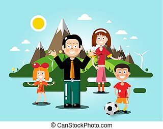 People with Flat Design Landscape on Background. Vector.