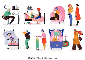 People with flu, men and women catch a cold, set of isolated cartoon characters, vector illustration