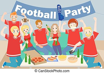 people with football party