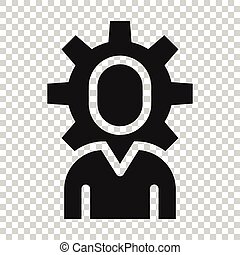 People with gear icon in flat style. Person cogwheel vector illustration on white isolated background. Teamwork business concept.