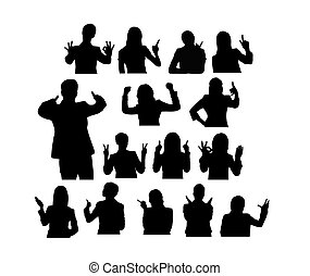 People with Gesture Finger Silhouettes