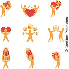 People with gifts. Set of vector icon.