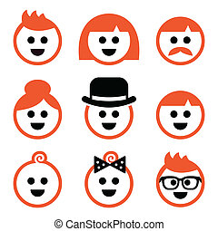 Vector icons set of red hair people isolated on white