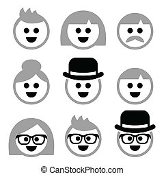 People with grey hair, seniors, old - Vector icons set of...