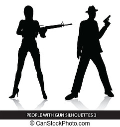People with gun silhouettes
