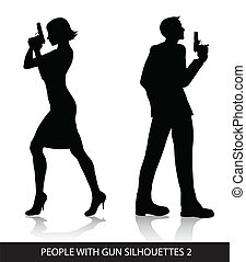 People with gun silhouettes - Vector silhouettes of people...