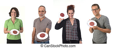 people with hamburger on white background