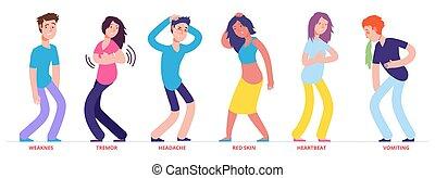 Vector flat man with heat stroke symptoms set  Adult man