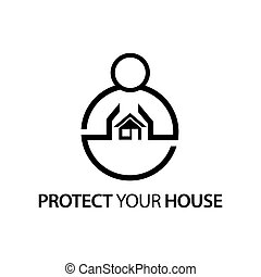 People with house icon. Concept of love your house .