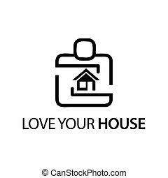 People with house icon. Concept of love your house.