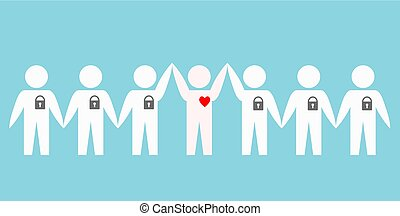 people with locked hearts over blue background, stock vector illustration