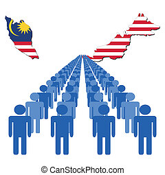 people with Malaysia map flag