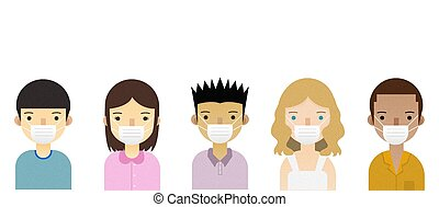 People with mask on white background