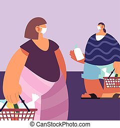 people with medical masks doing shopping in supermarket, social distancing