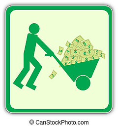 People with money - The person carries many money in a cart...