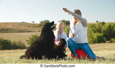 People with Newfoundland Dogs - Mother and daughter having...