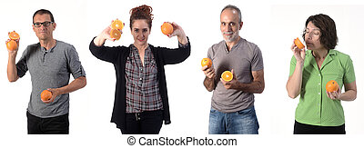 people with orange on white background