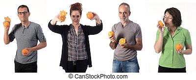 people with orange on white background