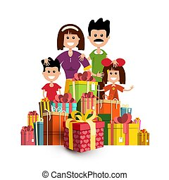 People with Paper Gift Boxes. Happy Family and Present Box Heap Isolated on White Background.