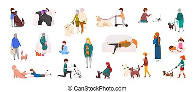 People with pets. Diverse cartoon characters walking, playing and running with cats and dogs. Vector domestic animals and people set