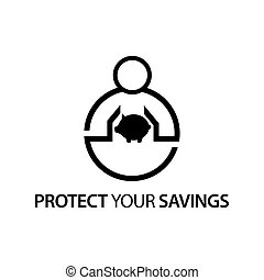People with piggy bank icon. Concept of protect your savings.