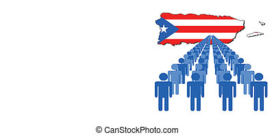 people with Puerto Rico map flag