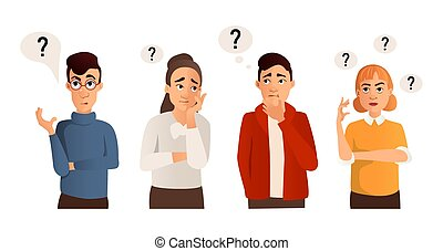 People with question marks vector illustration.