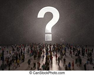 People with questions. 3D Rendering - Confused people seek...