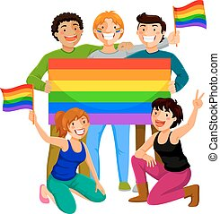 happy young people holding the gay rainbow flag