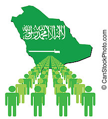 people with Saudi Arabia map flag - Lines of people with...