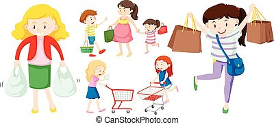 People with shopping bags and cart