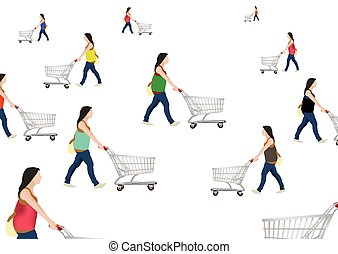 people with shopping cart