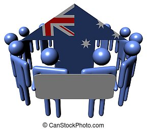 people with sign and Australia flag arrow