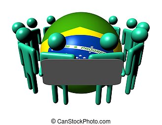 people with sign and Brazilian flag sphere