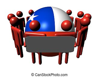 people with sign and Chilean flag sphere