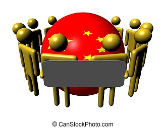 people with sign and Chinese flag sphere