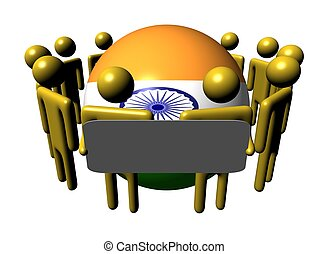 people with sign and Indian flag sphere