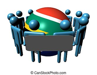 people with sign and South African flag sphere