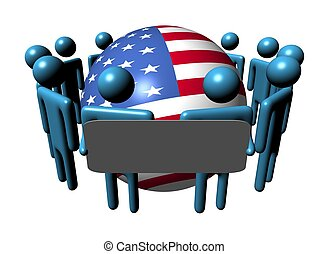people with sign and USA flag sphere