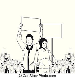 people with signboard avatar cartoon character vector illustration graphic design