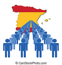 people with Spain map flag - Lines of people with Spain map...