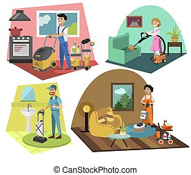 People with special equipment cleaning carpets set