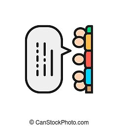 People with speech bubbles, feedback, opinion of people, reviews color line icon